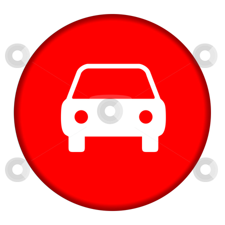 Circular automobile button stock photo, Silhouette of automobile on red button, isolated on white background. by Martin Crowdy