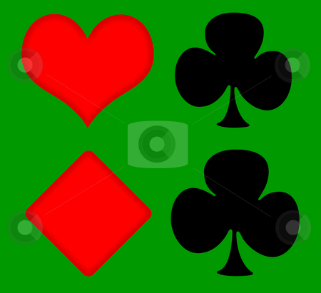 Playing card symbols stock photo, Playing card symbols on green baize surface. by Martin Crowdy