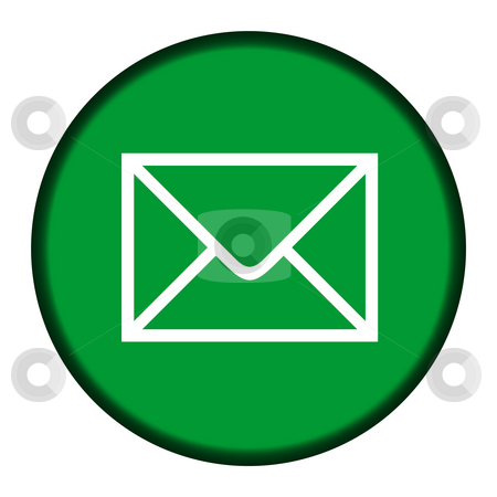 Green email icon button stock photo, Green email icon button isolated on white background. by Martin Crowdy