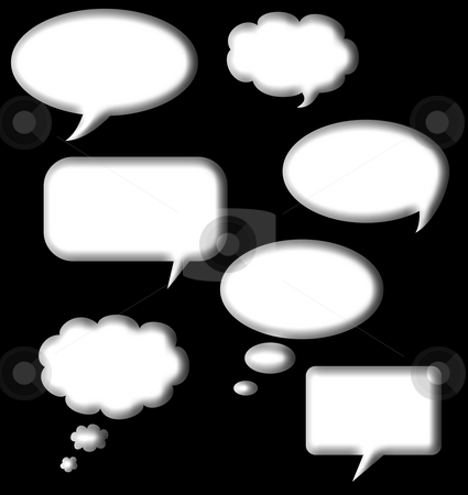 Speech and thought bubbles stock photo, Speech and thought bubbles set in white isolated on black background with copy space. by Martin Crowdy
