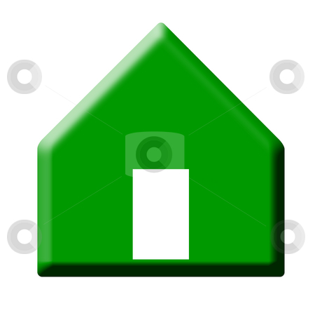 Rising house prices stock photo, Green pointing button representing rising house prices, isolated on white background. by Martin Crowdy