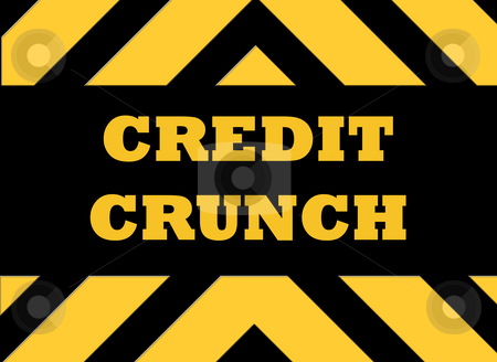 Credit crunch hazard sign stock photo, Credit crunch hazard sign in yellow and black. by Martin Crowdy