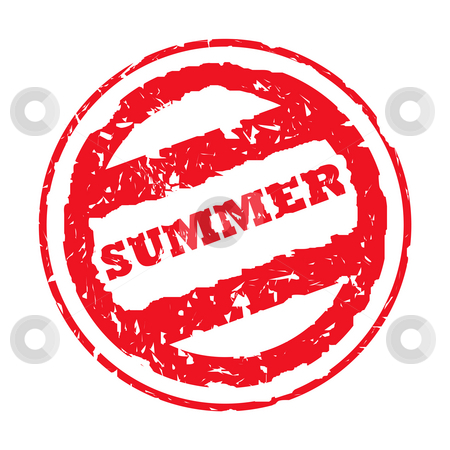 Summer passport stamp stock photo, Used red summer holiday passport stamp, isolated, on white background. by Martin Crowdy