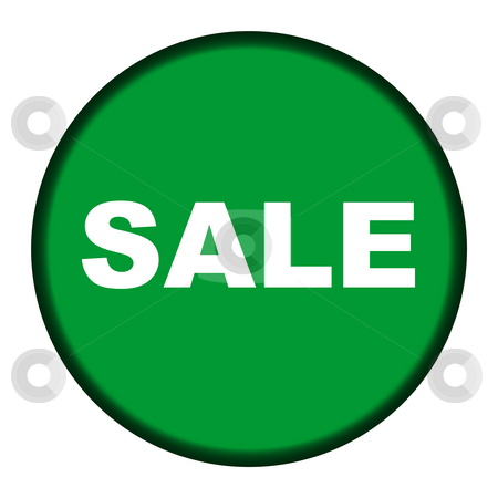 Circular green sale button stock photo, Circular green sale button isolated on white background. by Martin Crowdy
