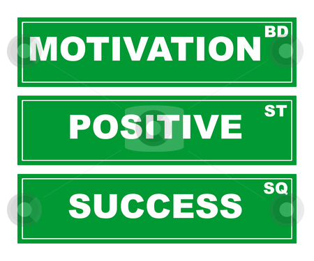 Motivational business signs stock photo, Motivational green business signs isolated on white background, motivation boulevard, positive street and success square. by Martin Crowdy