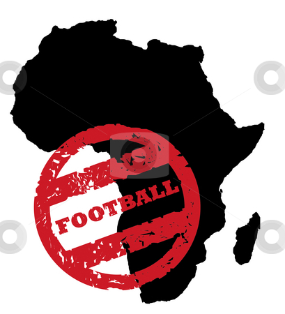 Football World Cup stock photo, Red used Football stamp on black map of Africa, isolated on white background. by Martin Crowdy