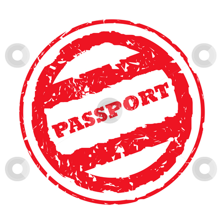Used passport stamp stock photo, Used red circular passport stamp, isolated on white background. by Martin Crowdy