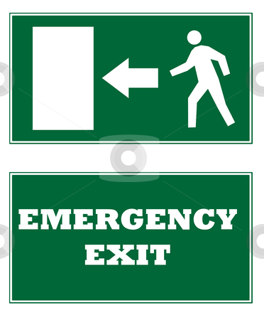 Emergency Exit signs stock photo, Two emergency exit signs, isolated on white background. by Martin Crowdy