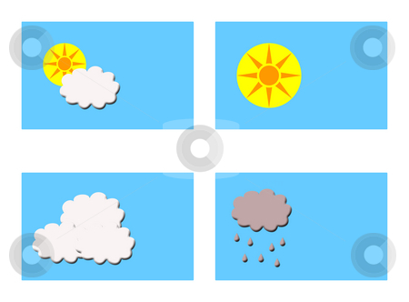Different weathers symbols stock photo, Four rectangular boxes showing different types of weather with copy space, isolaed on white background. by Martin Crowdy