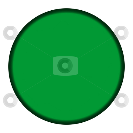 Blank green button stock photo, Blank green circular button isolated on white background. by Martin Crowdy