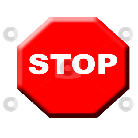 Red stop sign stock photo, Red traffic stop sign isolated on white background. by Martin Crowdy