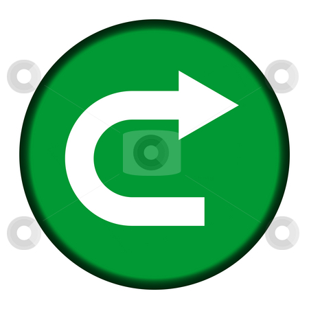 U-turn green button stock photo, Green u-turn directional button isolated on white background. by Martin Crowdy