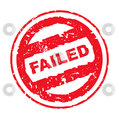 Used failed stamp stock photo, Used red failed stamp, isolated on white background. by Martin Crowdy