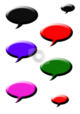 Speech bubbles stock photo, Set of colorful three dimensional speech bubbles isolated on white background. by Martin Crowdy