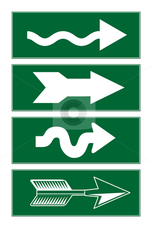 Directional arrows stock photo, Windy and unusual directional arrows on green roadsigns, isolated on white background. by Martin Crowdy