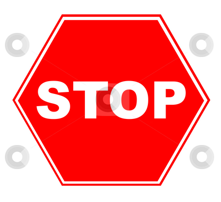 Red traffic stop sign stock photo, Red traffic stop sign isolated on white background. by Martin Crowdy