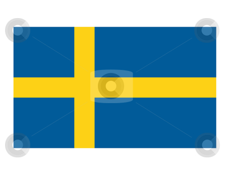Swedish flag stock photo, Swedish flag illustration isolated on white background. by Martin Crowdy