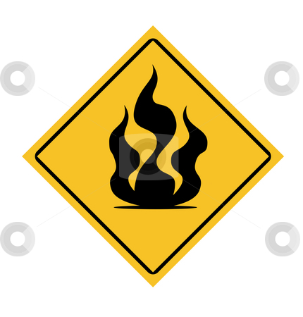 Fire warning sign stock photo, Fire warning sign isolated on white background. by Martin Crowdy