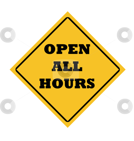 Open all hours sign stock photo, Open all hours road sign with right turn arrow. by Martin Crowdy