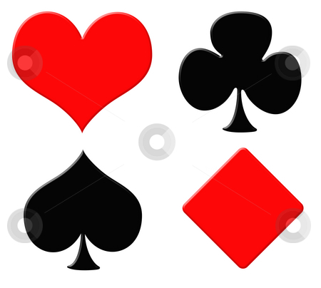 Playing card symbols stock photo, Playing card symbols or suits, isolated on white background. by Martin Crowdy
