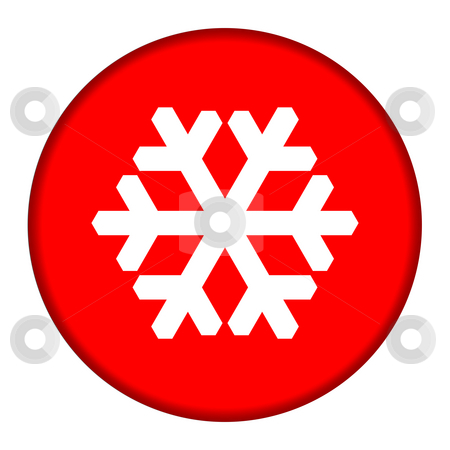 Red Snowflake button stock photo, Red circular Christmas snowflake button isolated on white background. by Martin Crowdy