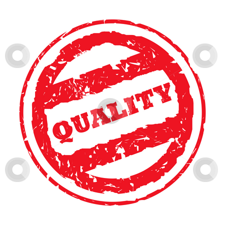 Used quality stamp stock photo, Used red business quality stamp, isolated on white background. by Martin Crowdy