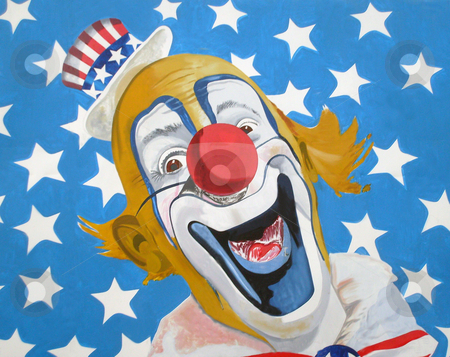 Patriotic American Uncle Sam clown stock photo, Illustration of patriotic Uncle Sam American circus clown wearing top hat with stars and stripe background. by Martin Crowdy