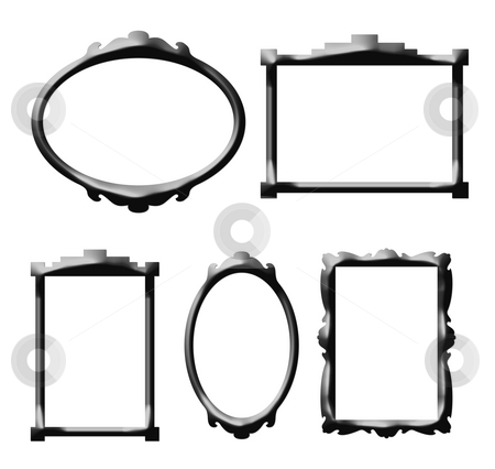 Decorative picture frames stock photo, Decorative retro style picture frames isolated on white background. by Martin Crowdy