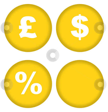 Currency buttons stock photo, Sterling and dollar currency buttons with percentage sign, isolated on white. by Martin Crowdy