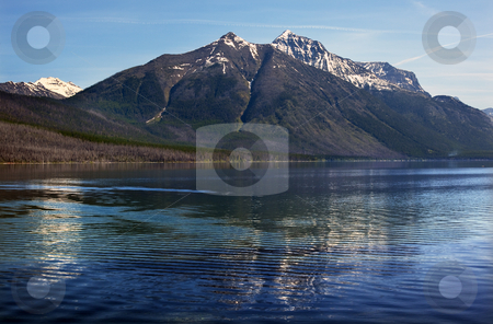 Lake McDonald Snow Mountain Reflection Glacier National Park Mon stock photo, Lake McDonald Snow Mountain Reflection Glacier National Park Montana by William Perry