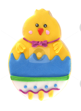 Isolated easter chick cookie stock photo, Easter chick cookie isolated on white background by Stacy Barnett