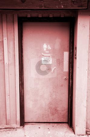 Restroom Door stock photo, A close up on an an old restroom door. by Travis Manley