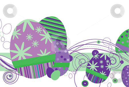 Easter Eggs in Purple Tones stock vector clipart, Easter Eggs in Purple with abstract design on a white background by x7vector