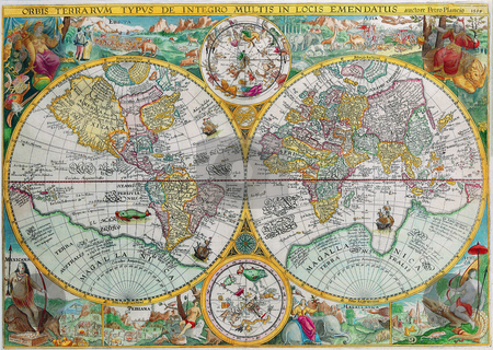 Antique Map of the World Petrus Plancius stock photo, Antique Maps of the World Double Hemisphere Map Petrus Plancius c 1599 by Old maps Digital pictures