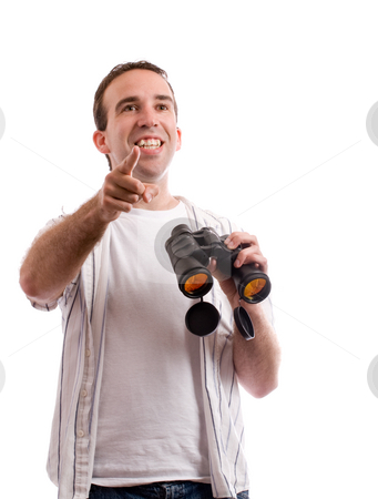 Bird Watching stock photo, Concept image of a man bird watching and holding a set of binoculars, isolated against a white background by Richard Nelson