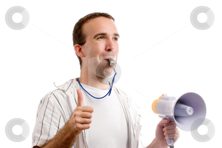 Team Coach stock photo, Horizontal view of a team coach blowing his whistle and giving a thumbs up, isolated against a white background by Richard Nelson