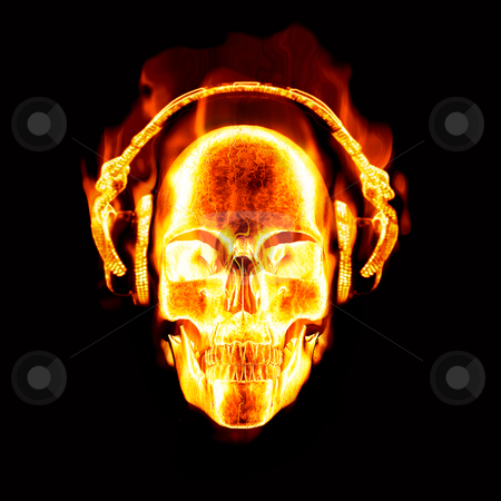 Flaming skull with headphones stock photo, Great image of flaming skull wearing headphones by Phil Morley