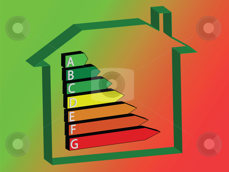 Energy House - Ratings stock vector clipart, Energy saving scale - ratings A to G by Stephen Clarke