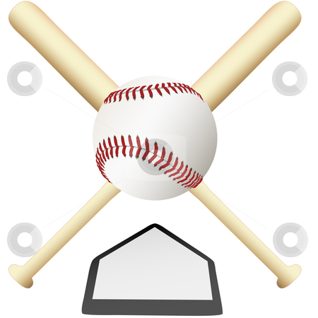 Baseball Emblem crossed bats over home plate stock vector clipart, A Baseball Emblem crossed bats over home plate ready for college or major leagues spring training to the world series. by Michael Brown