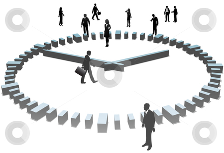 Business People Sihouettes Work a Day in 3D Clock stock vector clipart, A group of business people stand in and around a 3D time clock. by Michael Brown
