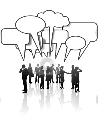 Communication Network Media Business People Team Talk stock vector clipart, A group or team of business people talk and interact in many speech bubbles. by Michael Brown