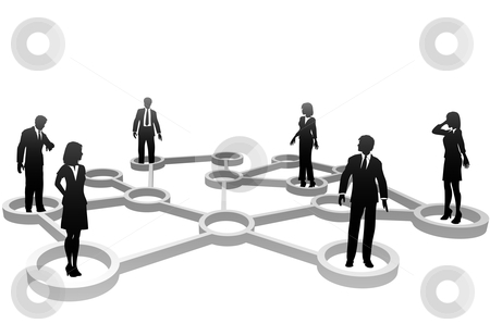Connected business people silhouettes in network nodes stock vector clipart, Connected Business People associate in Social or Business Community Network Nodes. by Michael Brown
