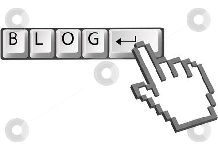 Hand pixel cursor clicks BLOG on computer keys stock vector clipart, A hand pixel cursor clicks on computer keyboard Enter key to blog. by Michael Brown