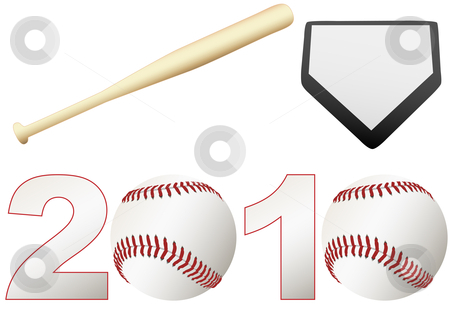 Baseball 2010 Season Set balls bat base stock vector clipart, Announce the 2010 Baseball Season games with a set baseballs, a bat, and a base by Michael Brown
