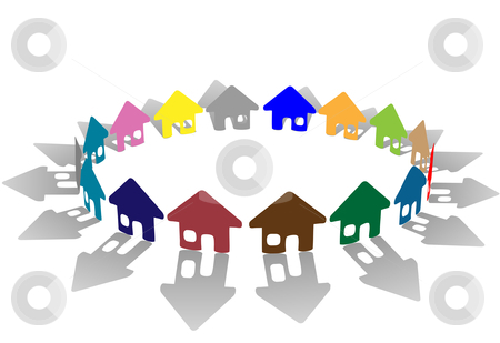 Colorful ring of brightly colored house symbols on white stock vector clipart, A bright colorful ring of house symbols form a symbolic community of homes as a group. by Michael Brown