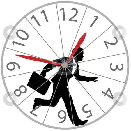 Business man runs rat race in hamster wheel clock stock vector clipart, A business man races against time in the rat race as he runs in a hamster wheel clock. by Michael Brown