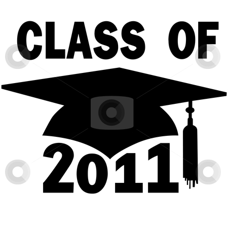 Class of 2011 College High School Graduation Cap stock vector clipart, A mortar board and tassel Graduation Cap for a College or High School Class of 2011. by Michael Brown