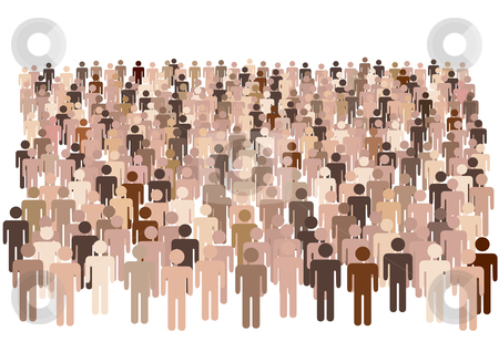 Diverse population of symbol people form large group stock vector clipart, Crowd scene - a large group of many diverse symbol people isolated on white. by Michael Brown