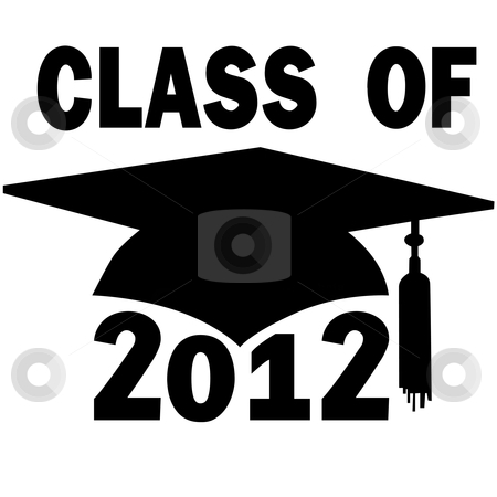 Class of 2012 College High School Graduation Cap stock vector clipart, A mortar board and tassel Graduation Cap for a College or High School Class of 2012. by Michael Brown