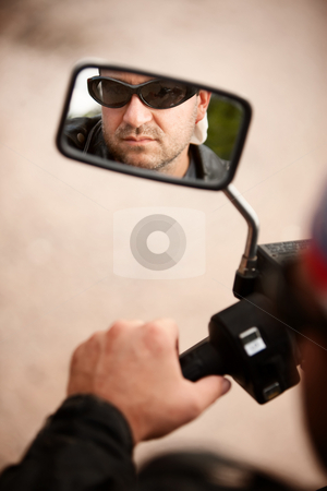 Motorcyclist Reflection stock photo, Reflection of Motorcycle Driver in Rearview Mirror by Scott Griessel